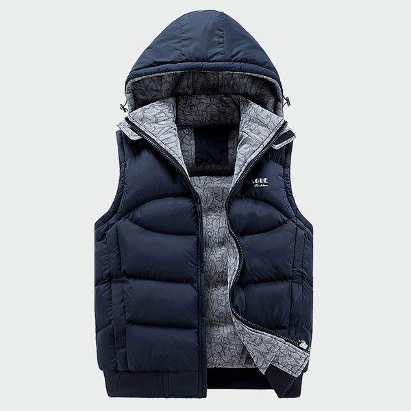 2019 Fashion Sleeveless Jacket Mens Thickening Cotton Vest Hat Hooded Warm Vest Winter Male Waistcoats Men Casual Windbreakers