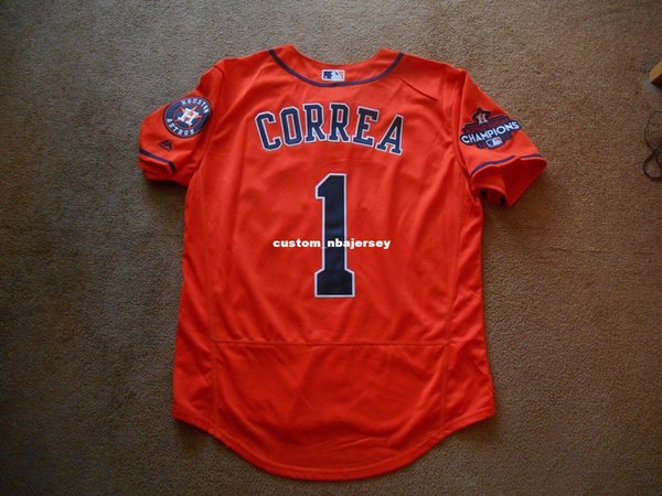 Cheap custom Carlos Correa #1 Orange WS Baseball Jersey Stitched Customize any name number MEN WOMEN YOUTH Jerseys