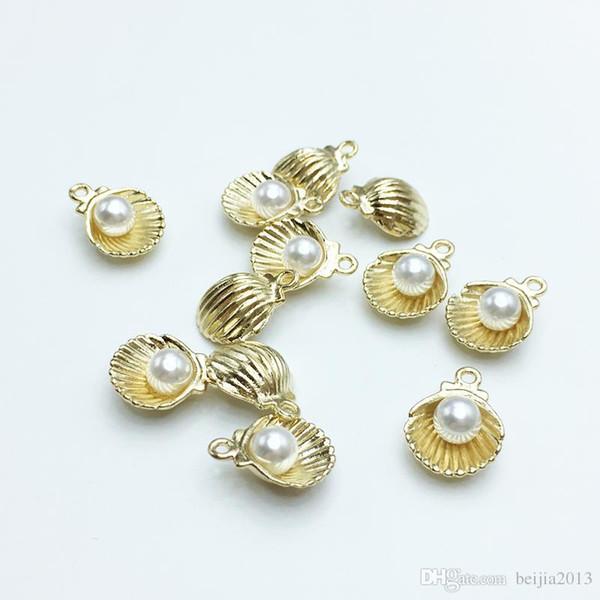 Hohe Qualität 60 teile / los 11 * 15mm Gold Farbe Ton Nachahmung Perle Shell Charme Für Schmuck Makingwholesale Heiße Entdeckungen
