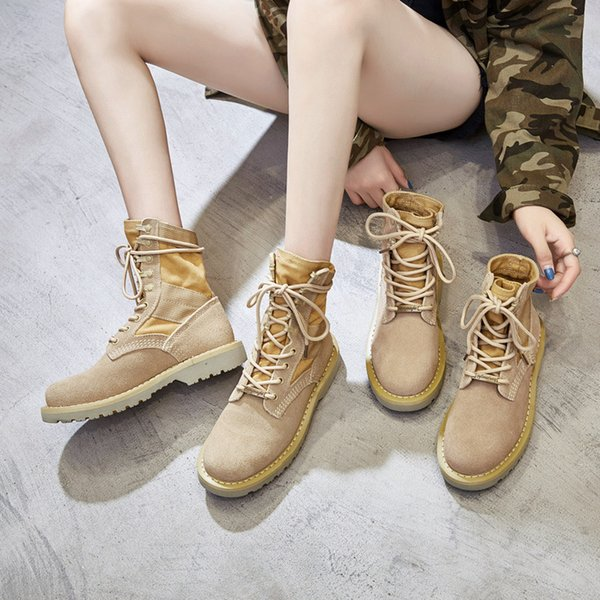 couple leather waterproof desert Martin boots female boots outdoor