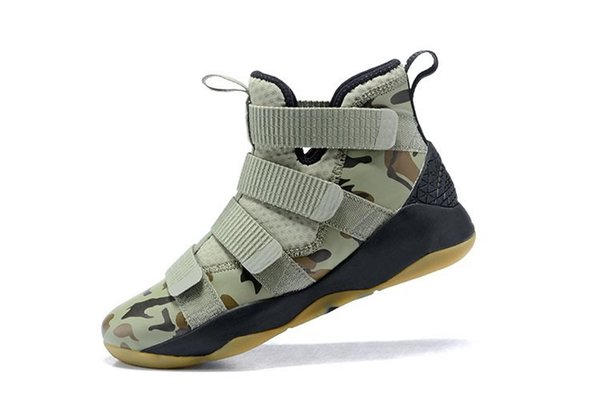 Top lebrom soldier 11 camo men basketball shoes soldiers 11s maroon midnight navy university red wheat sfg xi sneakers