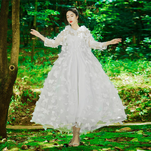 2 Piece Set White Spaghetti Strap Party Prom Party Wedding Dress with Butterfly Embroidery Cape Cloak Jacket Coat 3663