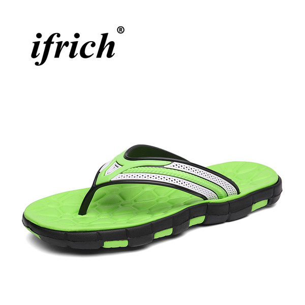 Men Soft Massage Beach Slippers Comfortable Flip Flops For Men Green/Sky Blue Bathroom Slippers Mens Casual Beach Shoes Male