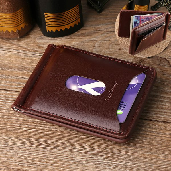 1PC High Quality Fashion Men Solid Thin Magnet Hasp Bifold Money Clip Leather Wallet ID Credit Men Purse Brand New