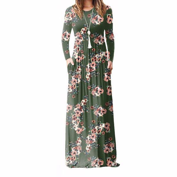Xxl Plus Size Long Dress Women Autumn New Printed Maxi Dress Dropship Casual Floor-length Sundress Pockets Party 7 Colors designer clothes