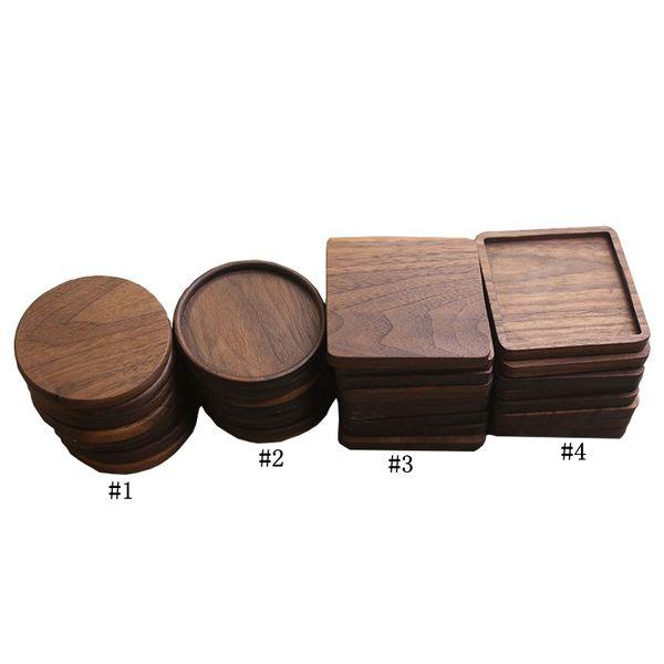 Sous-verres en bois de noyer noir Coupe Mat Bowl Pad café tasse de thé Tapis Dinner Plates Cuisine Home Bar Outils MMA2903