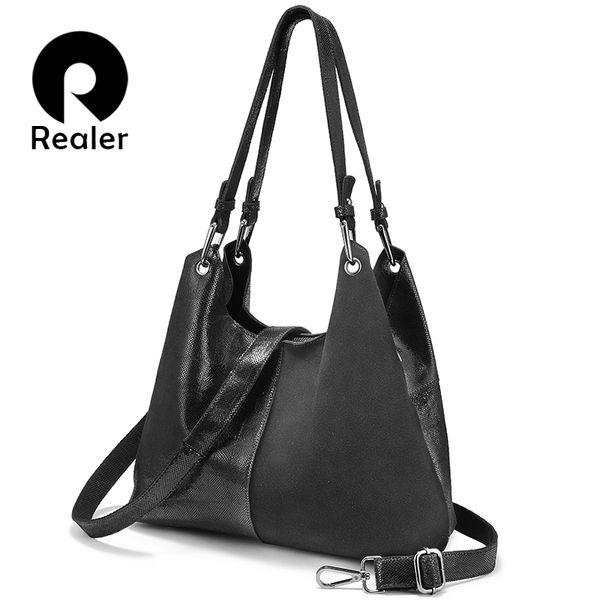 REALER large genuine leather handbags for women fashion ladies designers shoulder crossbody bags plaid pattern patchwork totes #126021