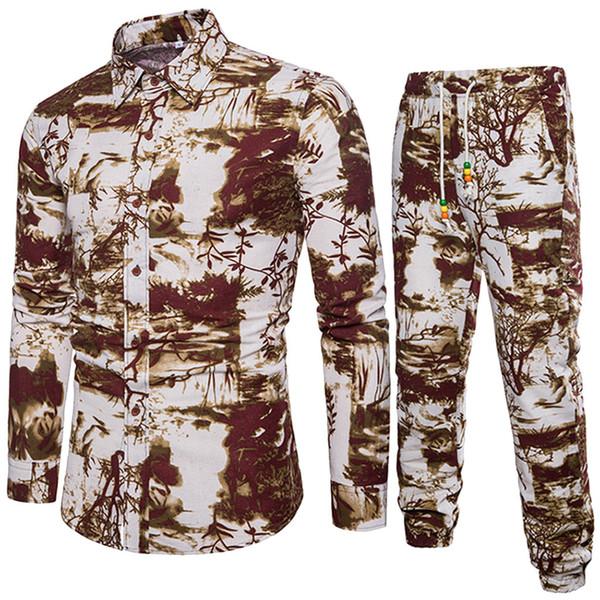 Men Set Thicken Linen Top+ Pants Suit Spring Sweatshirt Sportswear Set Male Suits New Summer Tracksuits Feb6