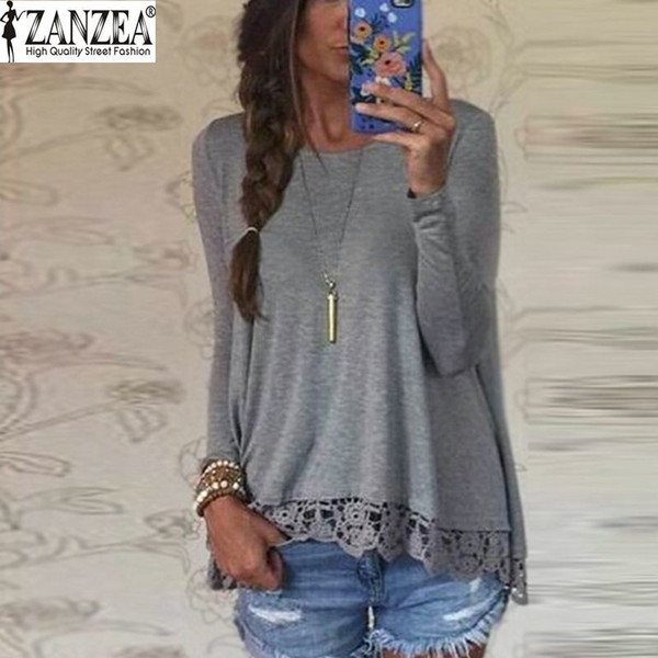 New 2016 Zanzea Fashion T Shirt Women Long Sleeve O-Neck Casual Tops Sexy Lace Crochet Embroidery Top Tees Blusas Plus Size 5XL Y18122403