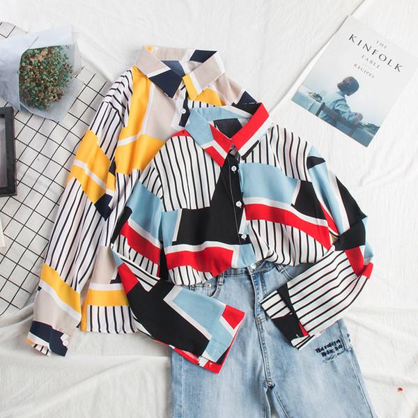 Mooirue Spring 2019 Female Vintage Blouse Summer Stripe Loose Turn-down Collar Long Sleeve Cardigan Feminino Hit Color Tops