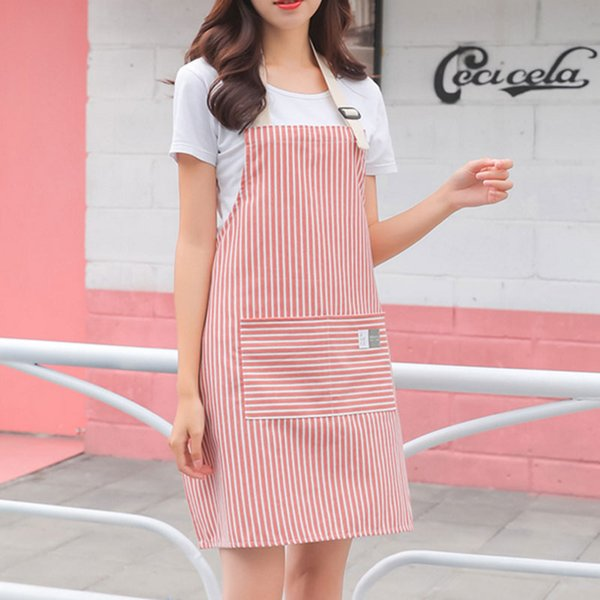 Adjustable Kitchen Aprons For Women Apron Dress Pink Gray Pinafore Cooking Baking Barista Restaurant Short Flower Shop Overalls