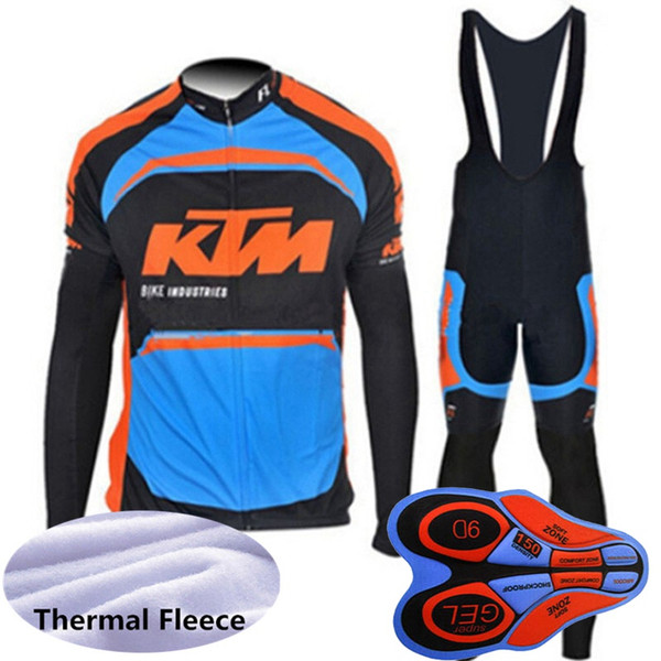 KTM Team Hommes cyclisme maillot costume Tour de france manches longues vêtement de vélo vêtement hiver thermique polaire plus chaud vélo uniforme de sport Y082203