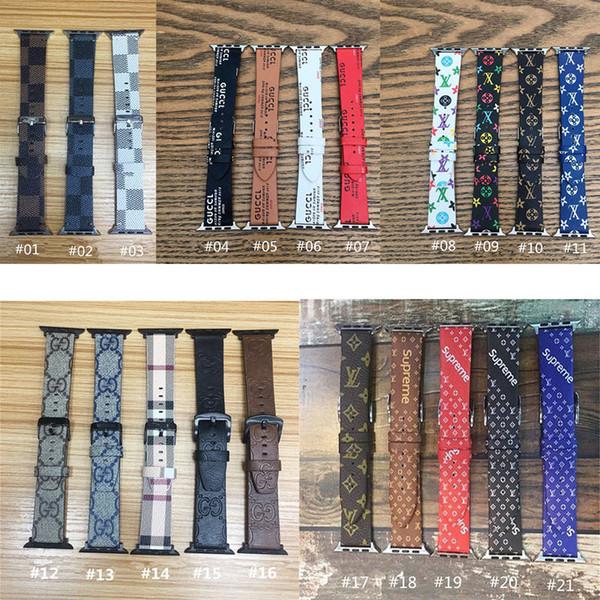 Роскошный кожаный ремешок PU Смарт ремни для Apple Часы серии 4 3 2 1 Группы поясами Iwatch 38 / 40мм 42 / 44mm Wristband