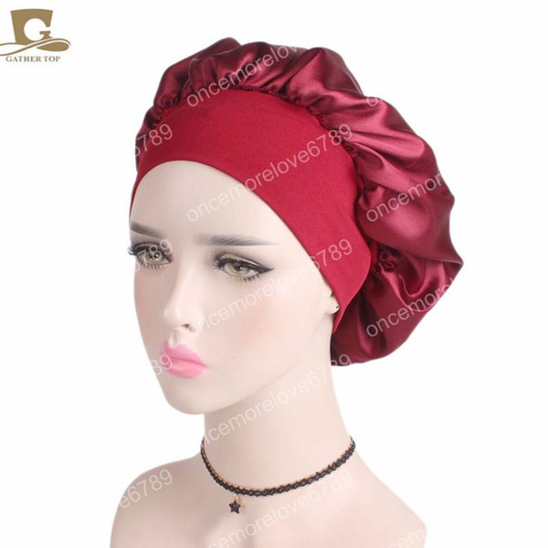Femmes Large Bande Satin Bonnet confortable Nuit Sommeil Chapeau Cheveux Cap Femme Turban