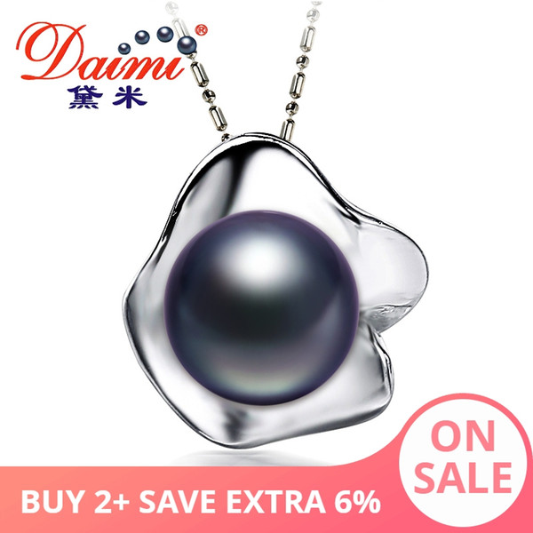 Daimi Flower Pearl Pendant Natural 11-12MM Freshwater Pearl Pendant Necklace White/black/grey/pink/purple Brand Jewelry