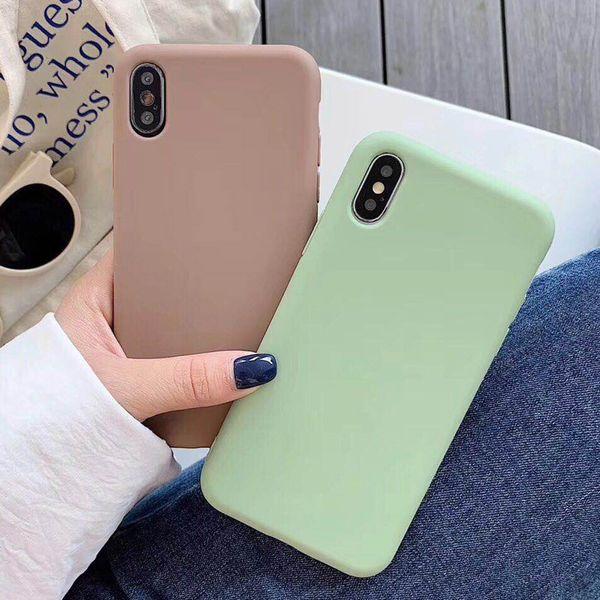 USLION конфеты цвет телефона чехол для iPhone XS Max XR XS X 8 Plus простой обычный силиконовый чехол для iPhone 6 6S 7 Plus Soft TPU Case