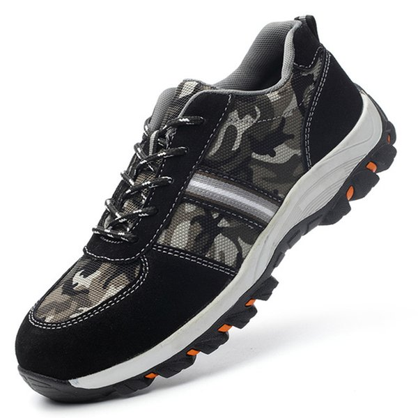 2019 New Men's Fashion Casual Shoes Anti-mite Steel Toe Caps Breathable Shoes Sports Lightweight Non-slip Hiking Men
