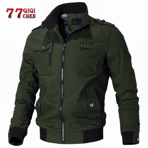 QIQICHEN 2019 Yeni Rahat Katı Ceket Erkekler İlkbahar Sonbahar Pamuk Çok cep Bombacı Ceketler Erkek Slim Fit Mont Jaqueta Masculina