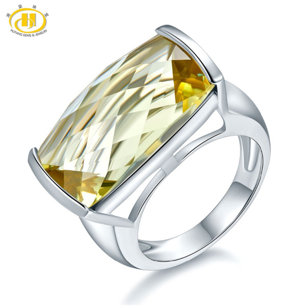 hutang natural 15ct huge lemon quartz rings 925 sterling silver ring gemstone engagement fine stone jewelry for women gift