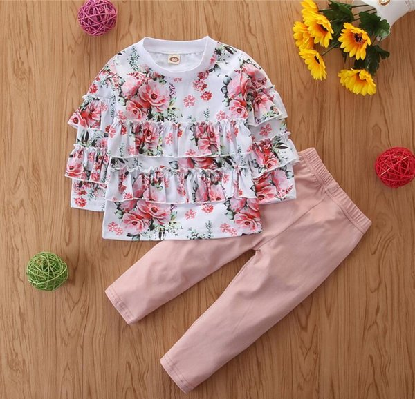 UK Baby Girls Flower Tops Jumpsuit Trousers Pants Kids Clothes Outfits 1-5 Years