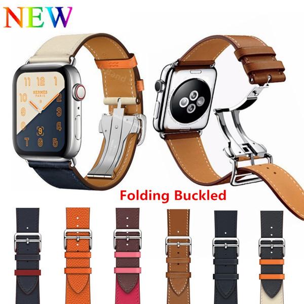 Fivela de implantação de couro único Tour para a Apple Watch Series 4 44MM 40MM substituição pulseira para iWatch 4 3 2 1