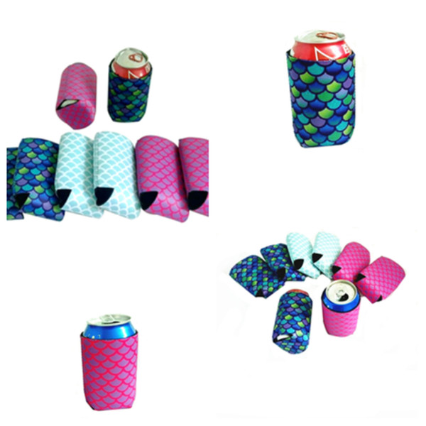 best selling new Mermaid Neoprene cups cover Can Cooler cup holder beverage set Beer Drinks Bottle cup Wedding decor Party Favor coke cup setT2I5243