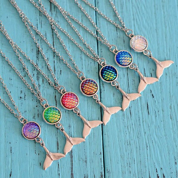 Fish Scale Mermaid Cabochon Necklace Silver Mermaid Tail Pendants for Women Girls Fashion jewelry Gift DROP SHIP