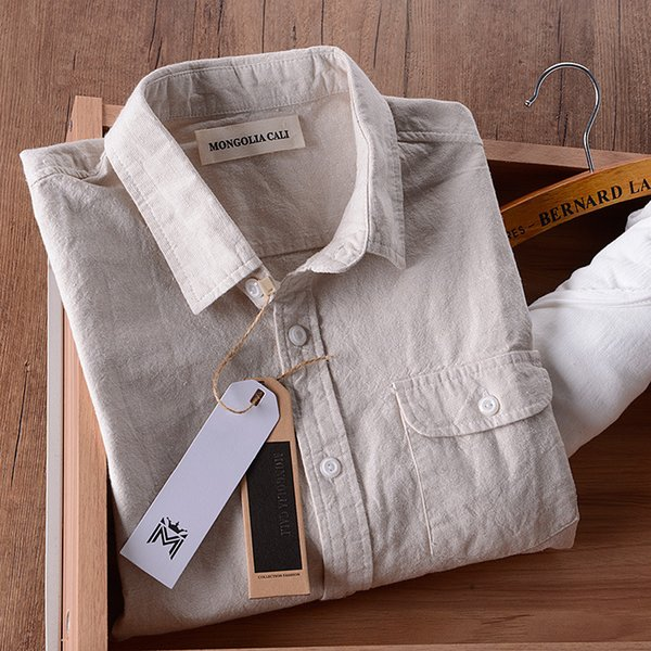 Italy Brand Linen Shirt Men Summer Cotton Shirts Men Long Sleeve Solid Beige Casual Mens Shirts Slim Fashion Shirt Mens Chemise Y190415