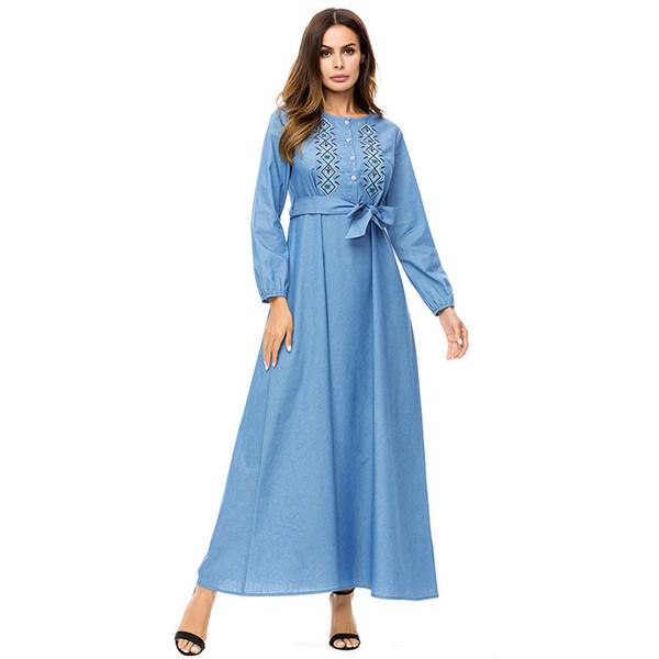Korean fashion embroidery maxi dresses Spring 2019 Single-breasted shirt long dress elegant high waist swing dress