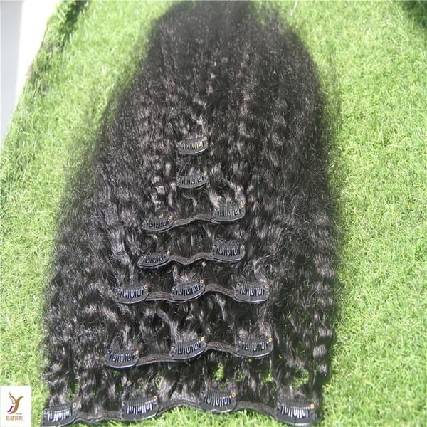 Jet Black Clip couleur En 9pcs / 100g Extensions cheveux crépus bouclés clip malaisienne cheveux 6a humain Virgin Hair Extensions