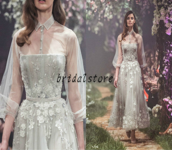 paolo sebastian Spring 2019 Prom Dresses Short Gray Sexy Illusion Top see through sleeve Ankle Length Bead Evening Gowns 3d Floral Appliques