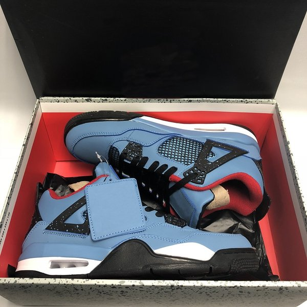 1a491573491 Newest 2018 New Jumpman 4 IV Travis x Houston University Blue Black Red  Casual Sports Shoes