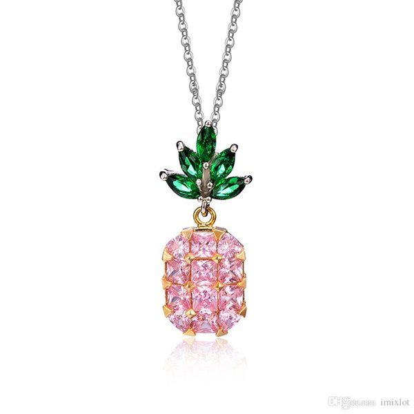 2pcs/lot Yellow / Light Pink Color Crystal Zircon Necklace Chain Charm Lady Fruit Pineapple Pendant Jewelry Gift