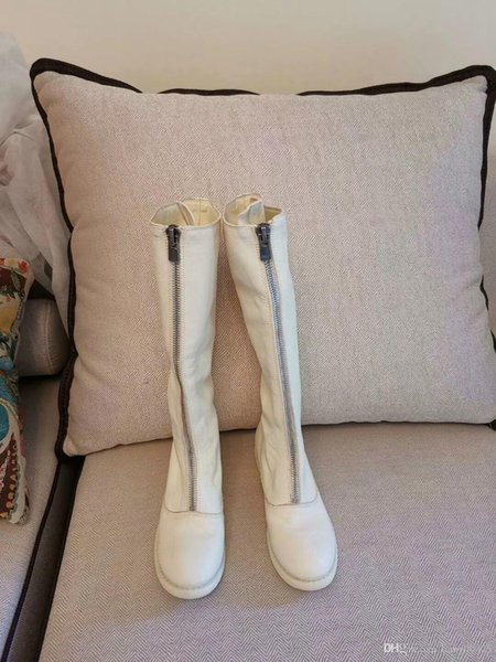 La moda de las nuevas mujeres Knight botas de vaquero zapatos de plataforma del tobillo botas de cuero genuino Diseñador hebilla de invierno de lujo de zapatos negros SZ35-40 td190803