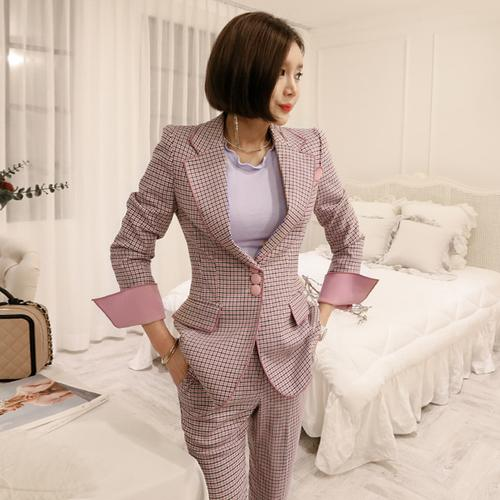 2019 Spring Women Two Piece Set Plaid Single-Breasted Blazer + High Waist Pants Office Lady Suit Sets Formal 2 Piece Set Offical