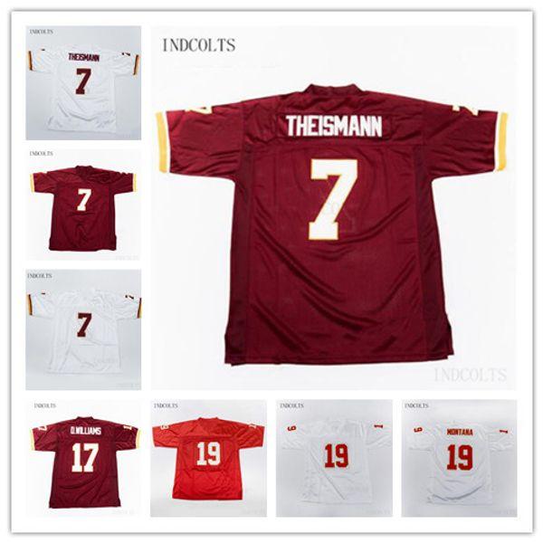 NCAA Homens 7 Joe Theismann 17 Doug Williams 19 Joe Montana 21 Sean Taylor Camisa de Futebol Vintage STITCHED Jerseys