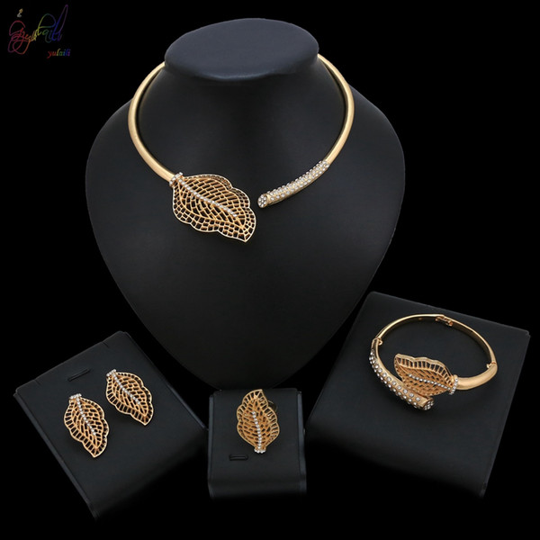Yulaili Jewellery Sets One Leaf Simple Fashion National Style Jewelry Gold Color Necklace Set Contemporary Jewellery
