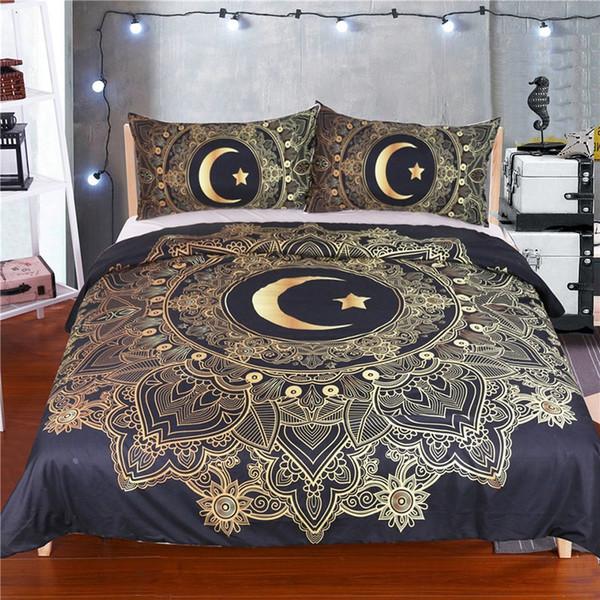 Bronzing Bettwäsche-Sets 3 teile / satz Star Moon Pattern Bettbezug Kissenbezüge Hause Bettwäsche Liefert Weihnachten Dekorative Weihnachtsgeschenk FA2610