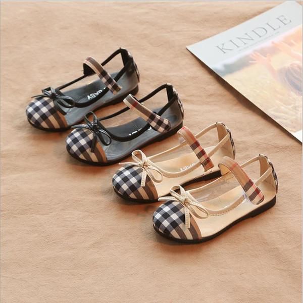 2019 summer new sandals children's shoes authentic non-slip summer baotou bow plaid leisure