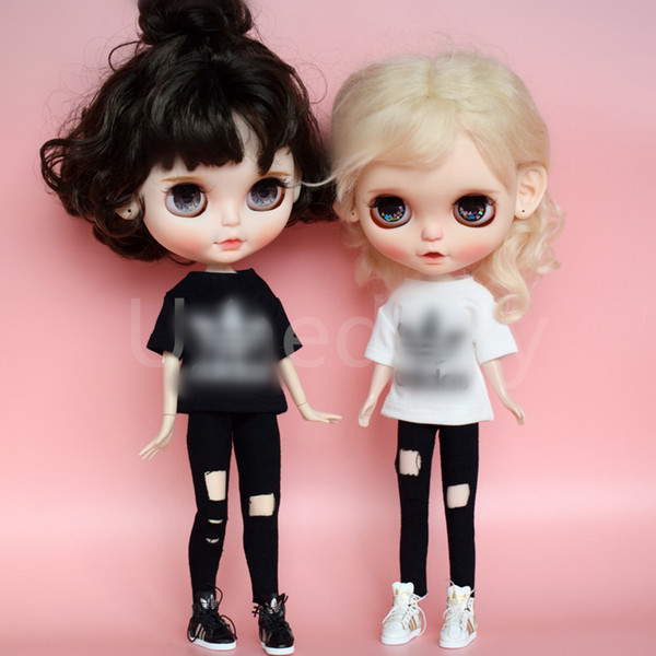 2pcs/set Classic Brand 1/6 Blyth Doll Clothes T-shirt + Pants Set for Barbies Doll Clothing Sportwear Outfits Accessories