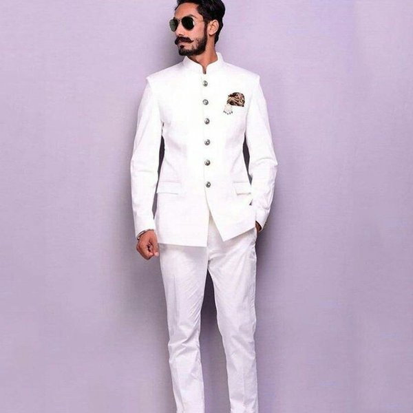 Italian Stand Collor White Men Suits 2019 Slim Fit Terno Masculino 2 Piece(Jacket+Pants)Groom Wedding Tuxedos For Men Blazers Costume Homme