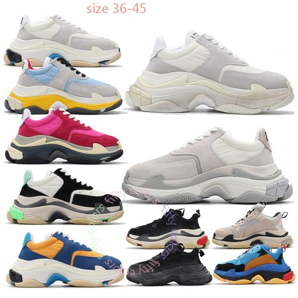 top popular Luxury triple s old dad shoes tripler sneakers clear sole chaussures retro scarpe women zapatos men hommes hombre mens fifty colors k577 2019