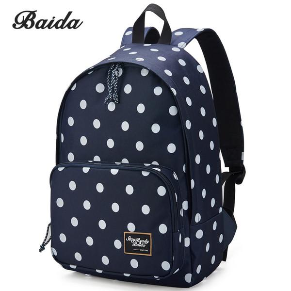 BAIDA Brand Black Polka Dots Backpack High Quality Fashion Backpacking Bag School Student Daypack Backpacks for Teen Girls #222373