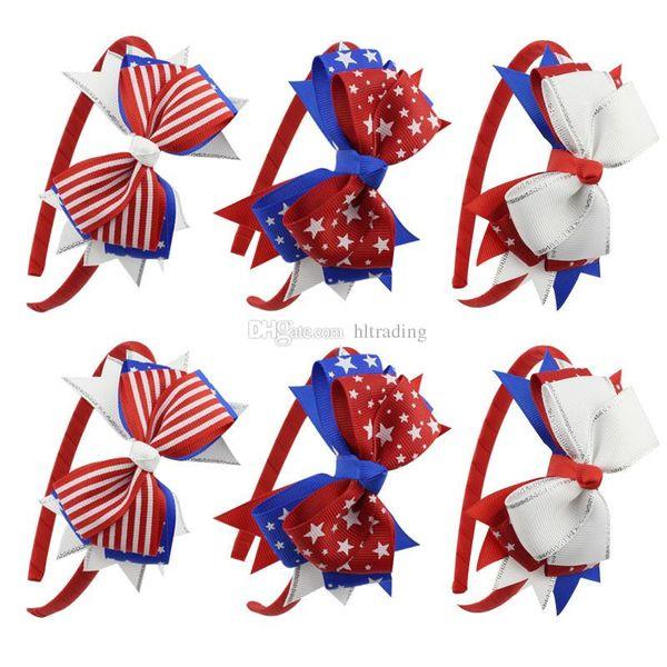 9 colori bandiera americana bambino fascia della ragazza stella striscia capelli bastoni grande arco-nodo a coda di rondine archi dei capelli copricapo bambini accessori per capelli c6490