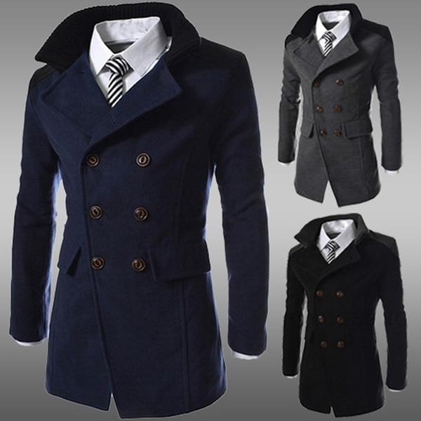 Men Jacket Warm Winter Trench Long Outwear Button Smart Overcoat Streetwear 2020 Windproof Overcoat Chaqueta de los hombres#3