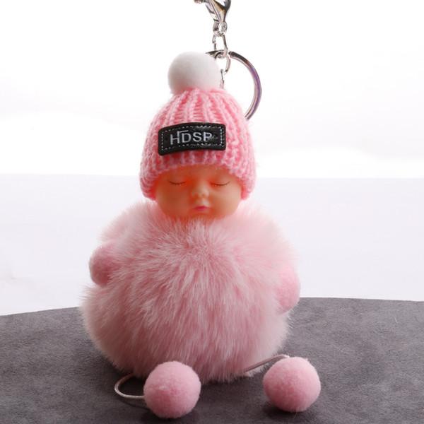 Sleeping cute doll hat hair ball Super textured plush keychain Bright powder antler flower rhinestone ball baby pendant H015