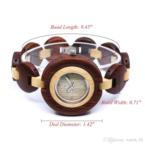 BEWELL 2019 New Women's Quartz Analogue Ultra Thin Wooden Watch with Wood Bracelet W010A