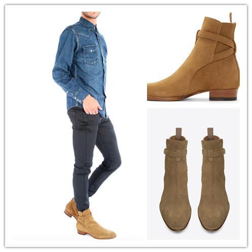 Hot Sale-luxe Nouveau 2016 Automne Printemps Limited Edition Mens Brown Suede Bottines en cuir avec boucle croix Bracelet homme faible talon Chaussures
