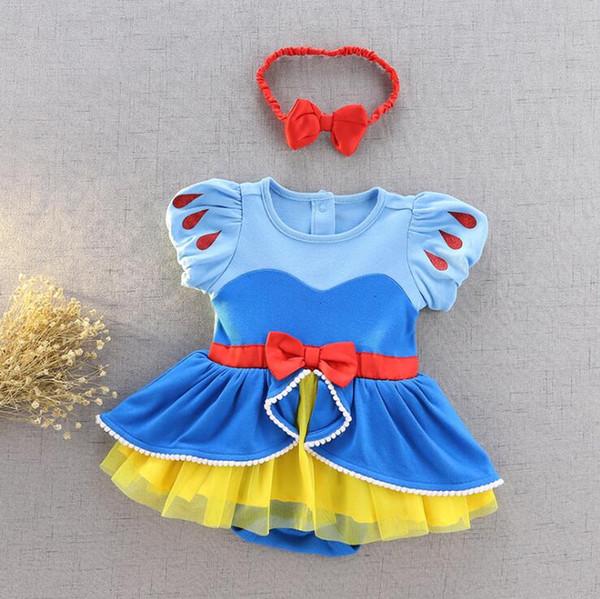 Neugeborenes Baby Mädchen Prinzessin Kleid Body mit Stirnband Mädchen Baby Geburtstag Kleid Kleinkind Schneewittchen Kostüm Cinderella Party Infant Kleid