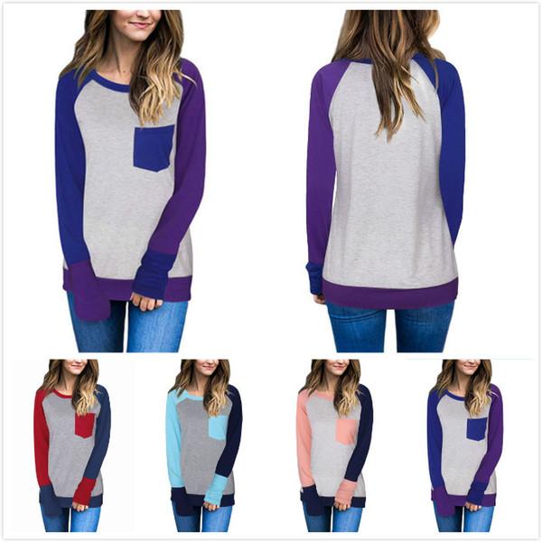 Women Raglan Patchwork Block Pocket Long Sleeve Baseball TShirt Splicing Cotton T Shirt Fashion Women Clothes Maternity Tee Plus Size